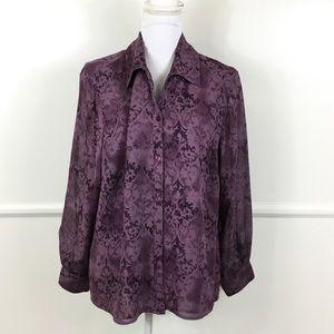 Lane Bryant Purple 100% Silke Button Down 14/16
